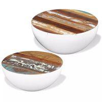vidaXL Set 2 mesas de centro madera maciza reciclada forma de cuenco