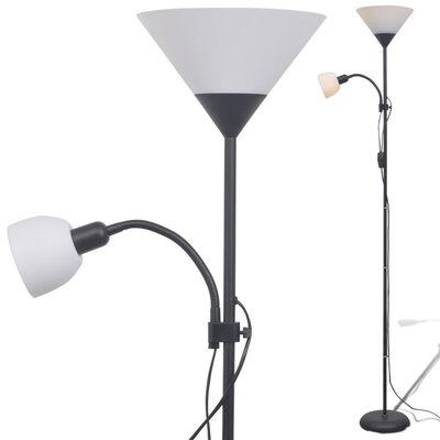 vidaXL Lámpara de pie negra