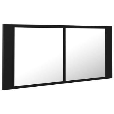 vidaXL Armario espejo de baño con luz LED negro 100x12x45 cm