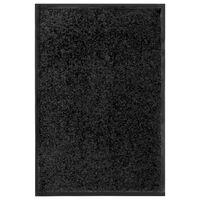 vidaXL Felpudo lavable negro 40x60 cm