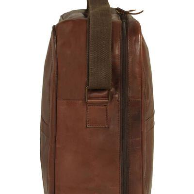 vidaXL Bolso de viaje cuero auténtico marrón