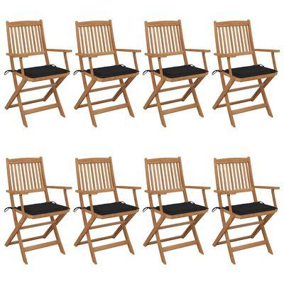 vidaXL Sillas de jardín plegables 8 uds madera maciza acacia y cojines