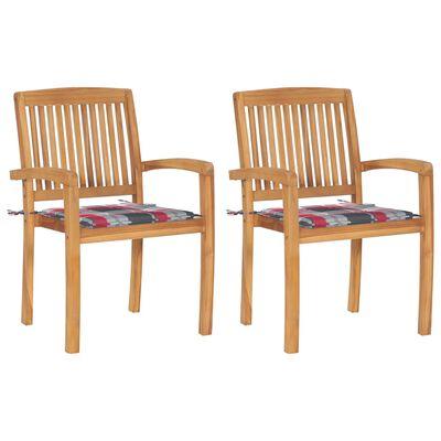 vidaXL Sillas de jardín 2 uds madera de teca y cojines a cuadros rojos