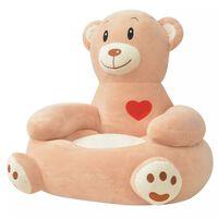 vidaXL Silla de peluche para niños oso marrón