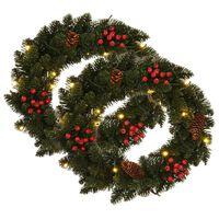 vidaXL Coronas navideñas 2 unidades con adornos verde 45 cm