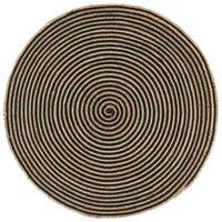 vidaXL Alfombra de yute tejida a mano diseño espiral negro 120 cm