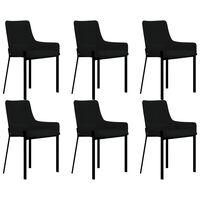 vidaXL Sillas de comedor 6 unidades tela negro