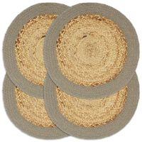 vidaXL Mantel individual 4 uds yute y algodón natural y gris 38 cm