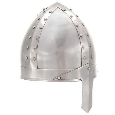 vidaXL Réplica de casco de caballero medieval antiguo LARP acero plata