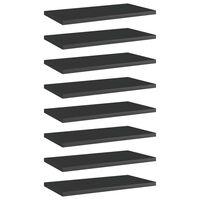 vidaXL Estantes estantería 8 uds aglomerado negro brillo 40x20x1,5 cm