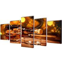 Set decorativo de lienzos para pared whisky y puro 100 x 50 cm