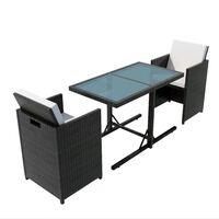 vidaXL Mesa y sillas bistró de jardín 3 pzs y cojines poli ratán negro