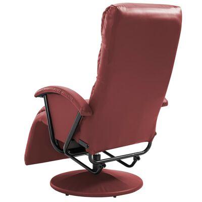 vidaXL Sillón reclinable para TV de cuero sintético color vino tinto