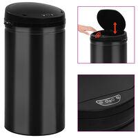 vidaXL Cubo de basura con sensor automático 50L acero al carbono negro