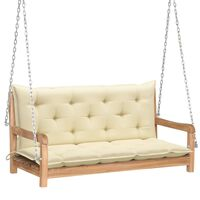 vidaXL Banco columpio madera maciza teca con cojín blanco crema 120 cm