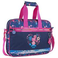 Cartera Infantil Niña Estampado Floral Con Purpurina Azul Marino