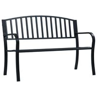 vidaXL Banco de jardín acero negro 125 cm