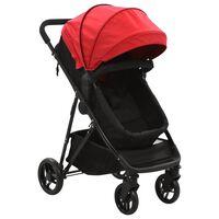 vidaXL Cochecito/Silla de bebé 2 en 1 acero rojo y negro