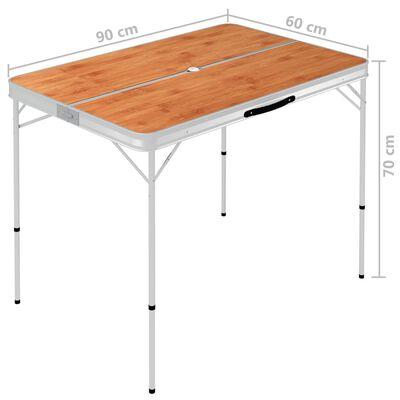vidaXL Mesa de camping plegable con 2 bancos aluminio marrón