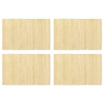 vidaXL Manteles individuales 4 uds Chindi liso algodón beige 30x45 cm