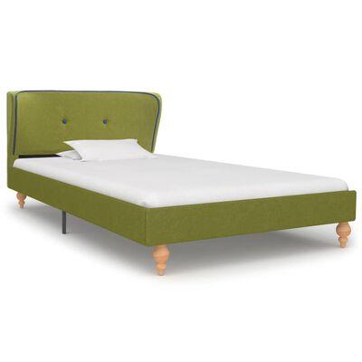 vidaXL Cama con colchón tela verde 90x200 cm