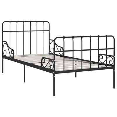 vidaXL Estructura de cama con somier metal negro 100x200 cm