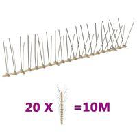 vidaXL Set de 4 hileras de pinchos contra pájaros y palomas 20 uds 10m