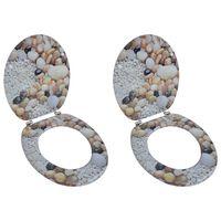 vidaXL Asientos de inodoro con tapas 2 uds MDF piedras