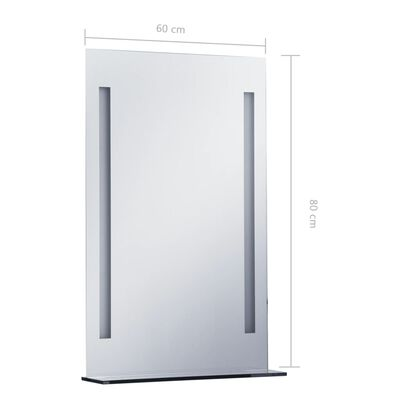 vidaXL Espejo de pared de baño con LED y estante 60x80 cm