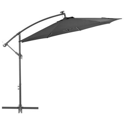 vidaXL Sombrilla voladiza con luces LED y poste acero 300 cm antracita