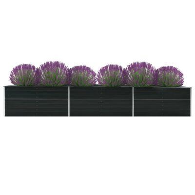 vidaXL Arriate de jardín de acero galvanizado antracita 480x80x45 cm