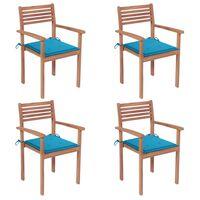 vidaXL Sillas de jardín 4 uds madera maciza de teca con cojines azules