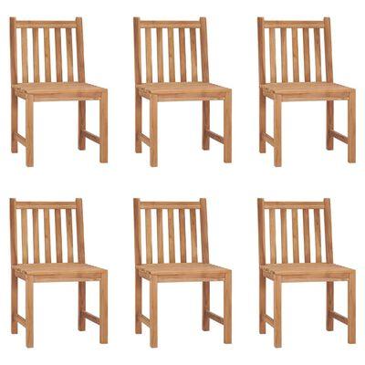 vidaXL Sillas de jardín 6 unidades con cojines madera maciza de teca