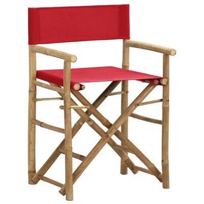 vidaXL Sillas de director plegables 2 piezas bambú y tela roja