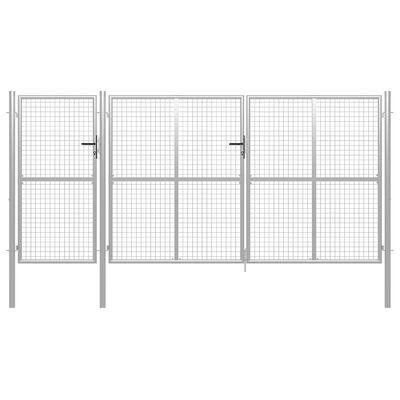 vidaXL Puerta de jardín de acero plateado 400x150 cm