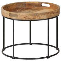 vidaXL Mesa de centro de madera maciza de mango y acero 50x40 cm