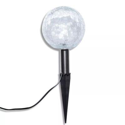 vidaXL Lámparas de bola jardín LED  anclajes y paneles solares 3 uds