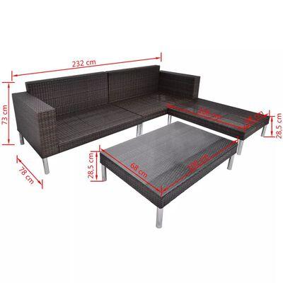 vidaXL Set muebles de jardín 4 piezas y cojines ratán sintético marrón
