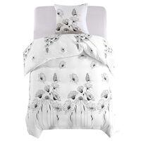 vidaXL Set funda de edredón diseño floral blanco 155x200/80x80 cm