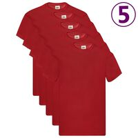 Fruit of the Loom Camisetas originales 5 uds rojo 3XL algodón