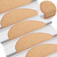 vidaXL Alfombrilla autoadhesiva escalera sisal 15 uds naranja 65x25 cm