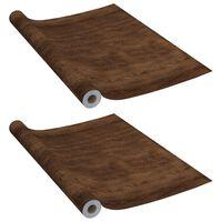 vidaXL Láminas autoadhesivas muebles 2 uds PVC roble oscuro 500x90 cm