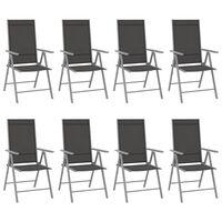 vidaXL Sillas de jardín plegables 8 unidades textilene negro