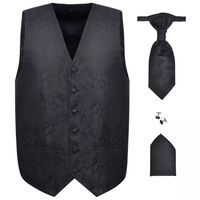 Accesorios boda para hombre chaleco de cachemira negro 48