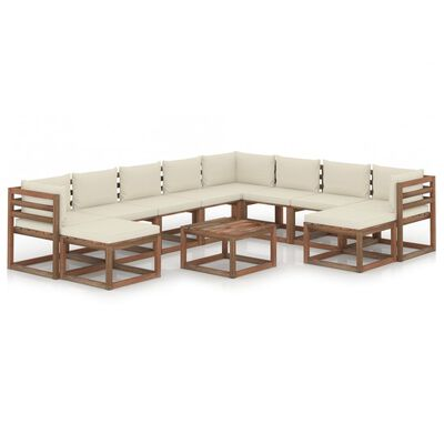 vidaXL Juego de muebles de jardín 11 piezas con cojines crema