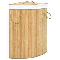 vidaXL Cesto de ropa sucia de esquina de bambú 60 L
