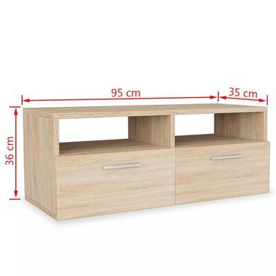 vidaXL Mueble de salón para la TV aglomerado 2 pzas roble 95x35x36 cm