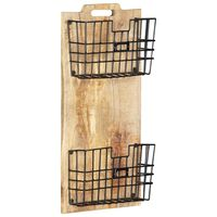 vidaXL Perchero de pared madera maciza de mango sin tratar 33x10x67 cm