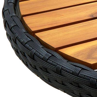 vidaXL Mesa de centro ratán sintético y madera maciza de acacia 60 cm