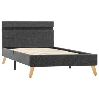vidaXL Estructura de cama con LED tela gris oscuro 100x200 cm